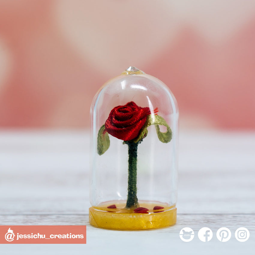 Rose under Glass Dome - Beauty and the Beast | Accessories | Custom Handmade Wedding Cake Topper Figurines | Jessichu Creations