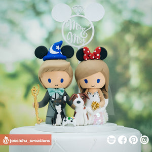 Wizard Mickey Groom & Mermaid Bride | Disney | Custom Handmade Wedding Cake Topper Figurines | Jessichu Creations