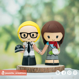 American Airlines Pilot & Flight Attendant | Custom Handmade Wedding Cake Topper Figurines | Jessichu Creations