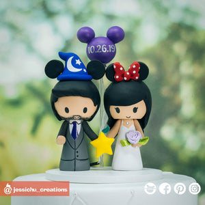 Wizard Groom & Minnie Bride with Paopu Fruit | Disney x Kingdom Hearts | Custom Handmade Wedding Cake Topper Figurines | Jessichu Creations