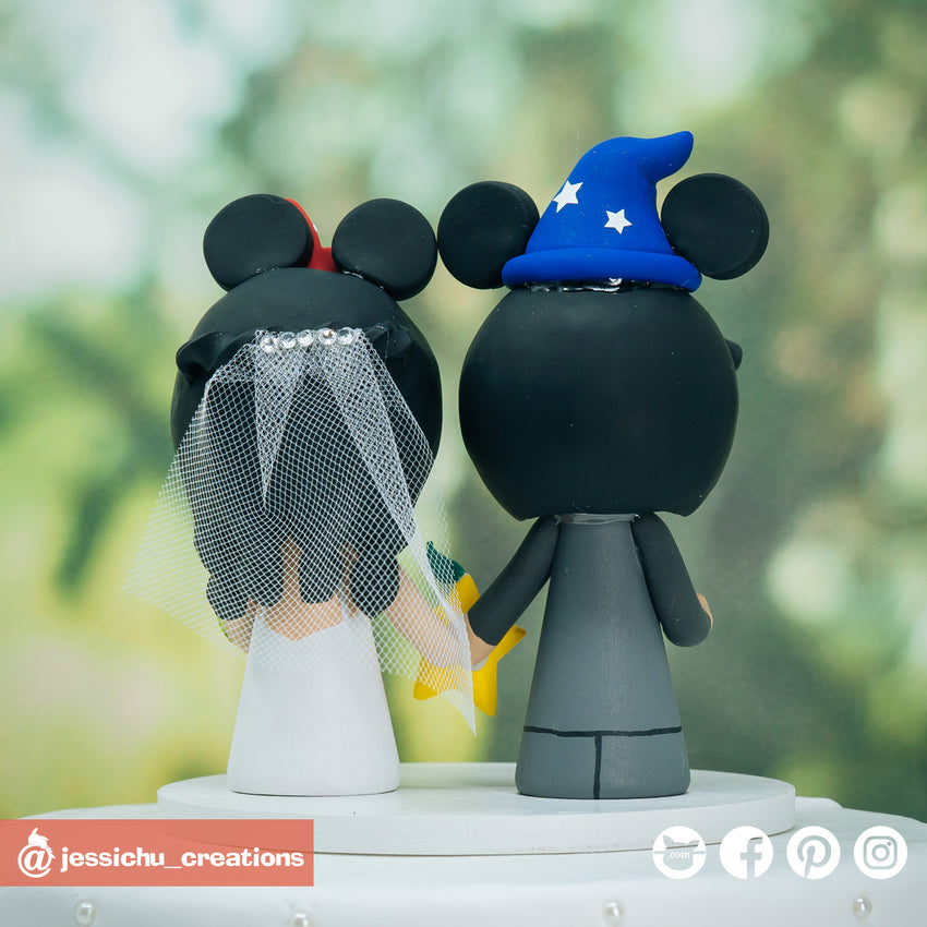 Wizard Groom & Minnie Bride with Paopu Fruit Inspired Disney x Kingdom Hearts Wedding Cake Topper | Wedding Cake Toppers | Cake Topper Gallery | Jessichu Creations