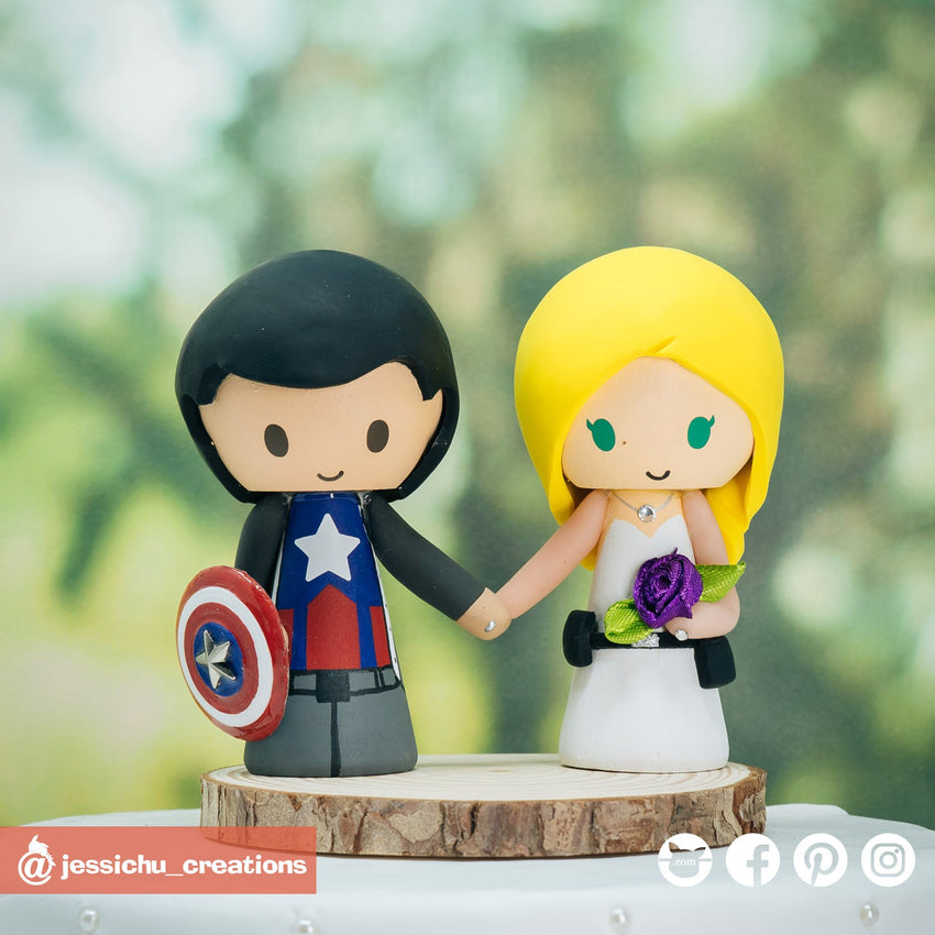 Captain America Groom & Agent 13 Sharon Carter Bride | Marvel | Custom Handmade Wedding Cake Topper Figurines | Jessichu Creations