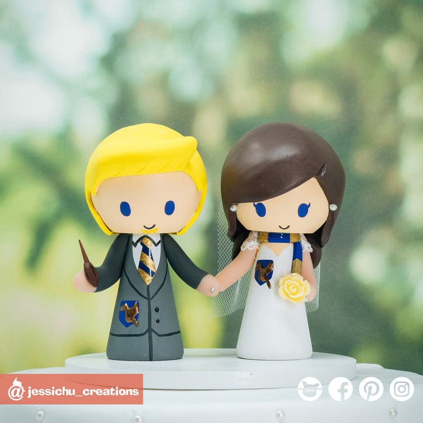 Ravenclaw Bride & Groom | Harry Potter | Custom Handmade Wedding Cake Topper Figurines | Jessichu Creations
