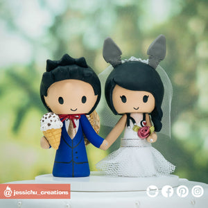 Luffy with Ice Cream Groom & Totoro Bride | OnePiece x Ghibli Studios | Custom Handmade Wedding Cake Topper Figurines | Jessichu Creations