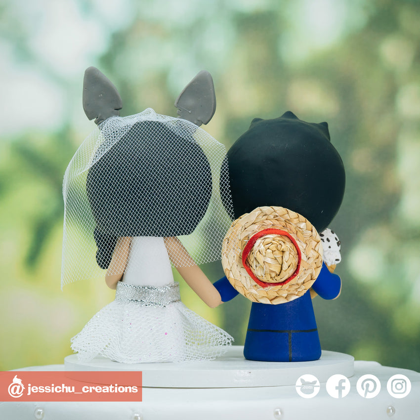 Luffy with Ice Cream Groom & Totoro Bride Inspired OnePiece x Ghibli Studios Wedding Cake Topper