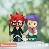 Ichigo with Hollow Mask Groom & Sailor Jupiter Bride | Bleach x Sailor Moon | Custom Handmade Wedding Cake Topper Figurines | Jessichu Creations