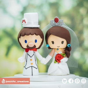 Mario & Princess Peach | Super Mario Odyssey x Nintendo | Custom Handmade Wedding Cake Topper Figurines | Jessichu Creations