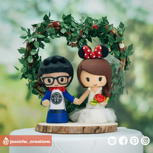 Deftones Fan & Minnie Mouse Bride Disney | Custom Handmade Wedding Cake Topper Figurines | Jessichu Creations