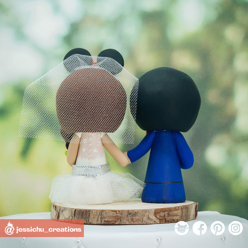 Deftones Fan & Minnie Mouse Bride Disney Inspired Custom Handmade Wedding Cake Topper | Wedding Cake Toppers | Cake Topper Gallery | Jessichu Creations