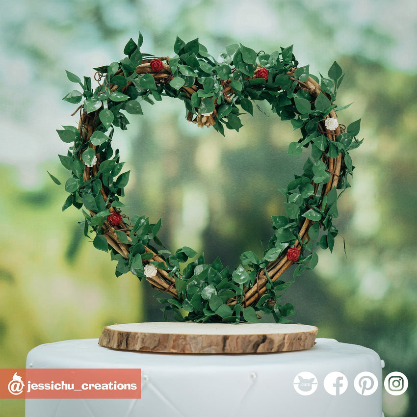 Large Heart Wreath | Signs | Custom Handmade Wedding Cake Topper Figurines | Jessichu Creations