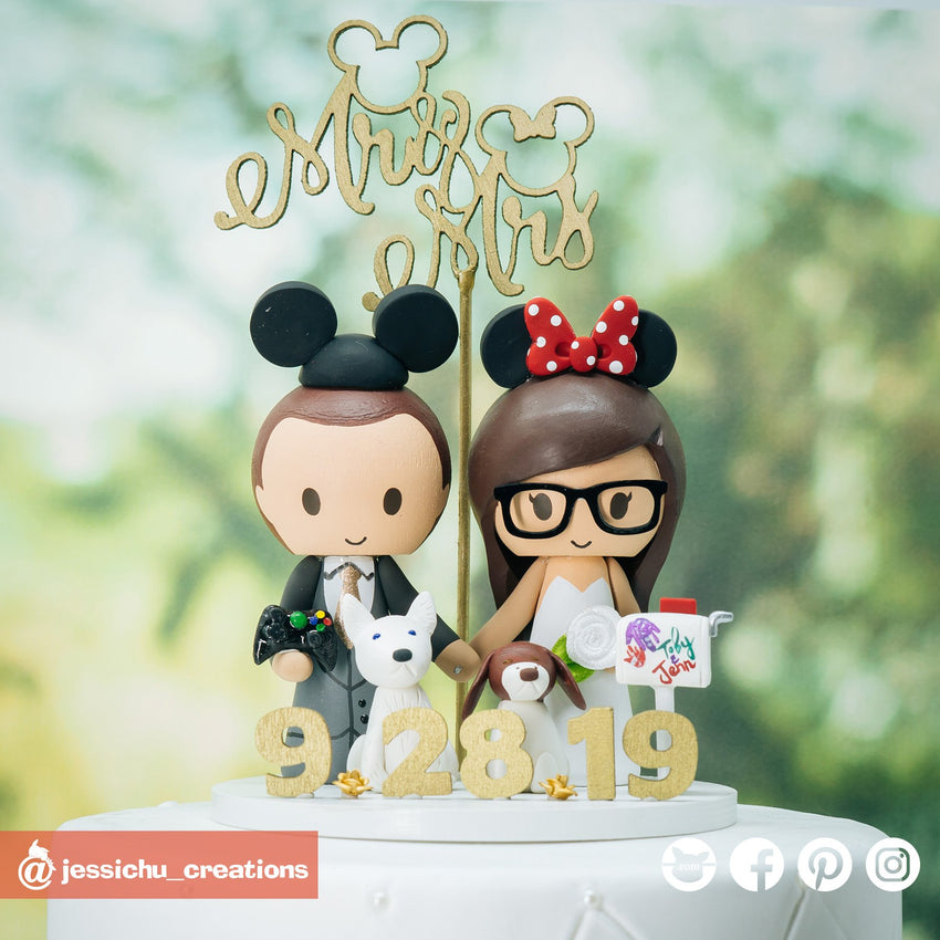 Mickey & Minnie Mouse with Pet Dogs | Disney x Pixar | Custom Handmade Wedding Cake Topper Figurines | Jessichu Creations