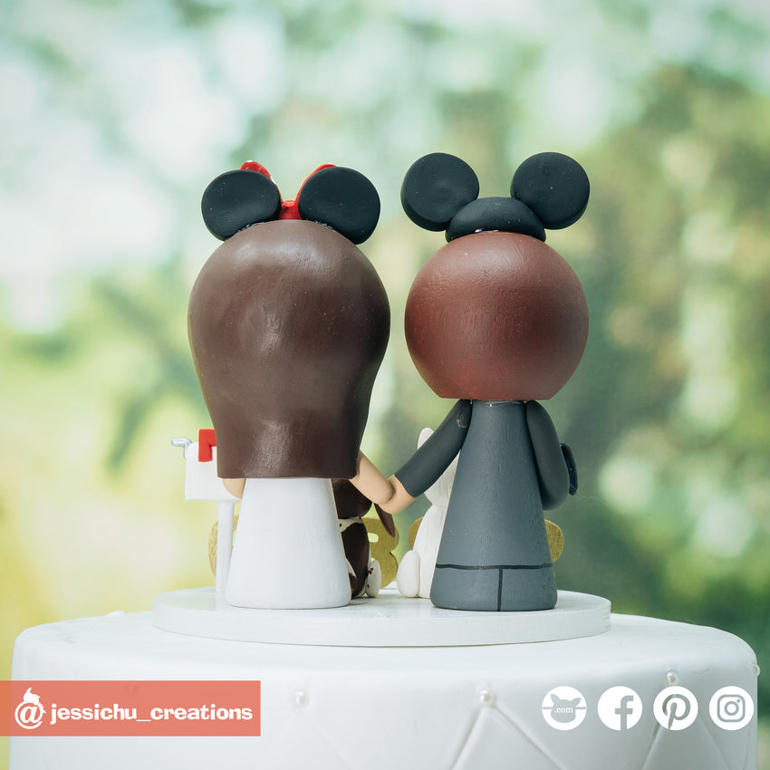 Mickey and Minnie Mouse with Pet Dogs - Disney Inspired Custom Handmade Wedding Cake Topper