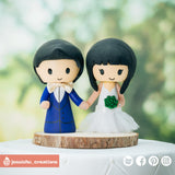 Cute Asian Couple | Custom Handmade Wedding Cake Topper Figurines | Jessichu Creations