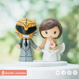 White Power Ranger Groom & Mermaid Bride | Custom Handmade Wedding Cake Topper Figurines | Jessichu Creations