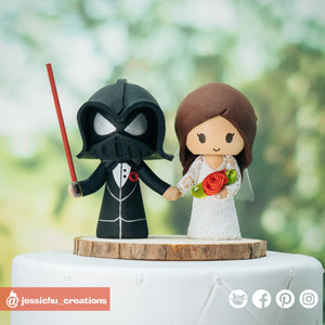 Darth Vader Groom & Bride | Vintage Star Wars | Custom Handmade Wedding Cake Topper Figurines | Jessichu Creations