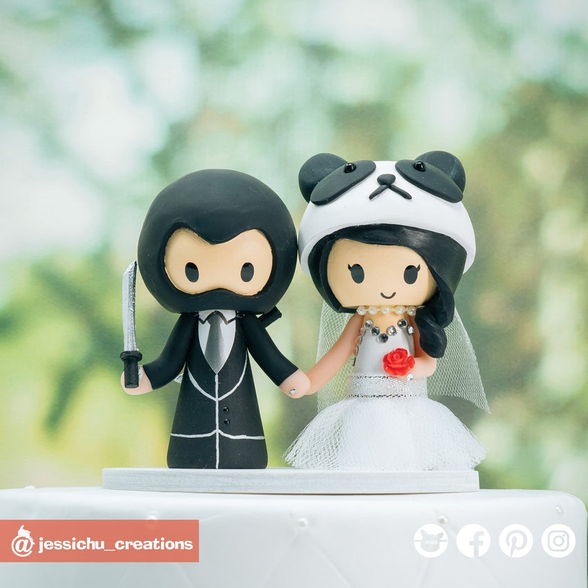 Ninja Groom & Panda Bride | Custom Handmade Wedding Cake Topper Figurines | Jessichu Creations