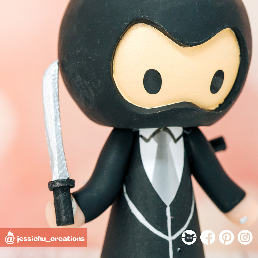 Ninja Groom & Panda Bride with Pikachu Child Custom Handmade Wedding Cake Topper Figurines | Wedding Cake Toppers | Cake Topper Gallery | Jessichu Creations