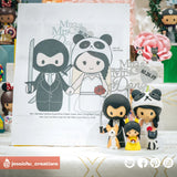Ninja Groom & Panda Bride with Pikachu Child | Custom Handmade Wedding Cake Topper Figurines | Jessichu Creations