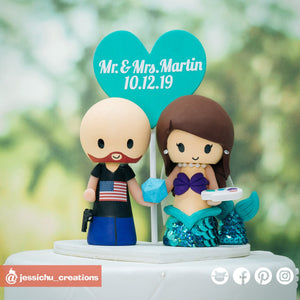American Groom & Mermaid Bride | Disney x The Little Mermaid | Custom Handmade Wedding Cake Topper Figurines | Jessichu Creations