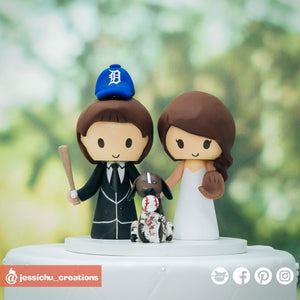 Detroit Baseball Fans | Custom Handmade Wedding Cake Topper Figurines | Jessichu Creations