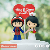 Spiderman Groom & Nurse Bride | Marvel | Custom Handmade Wedding Cake Topper Figurines | Jessichu Creations