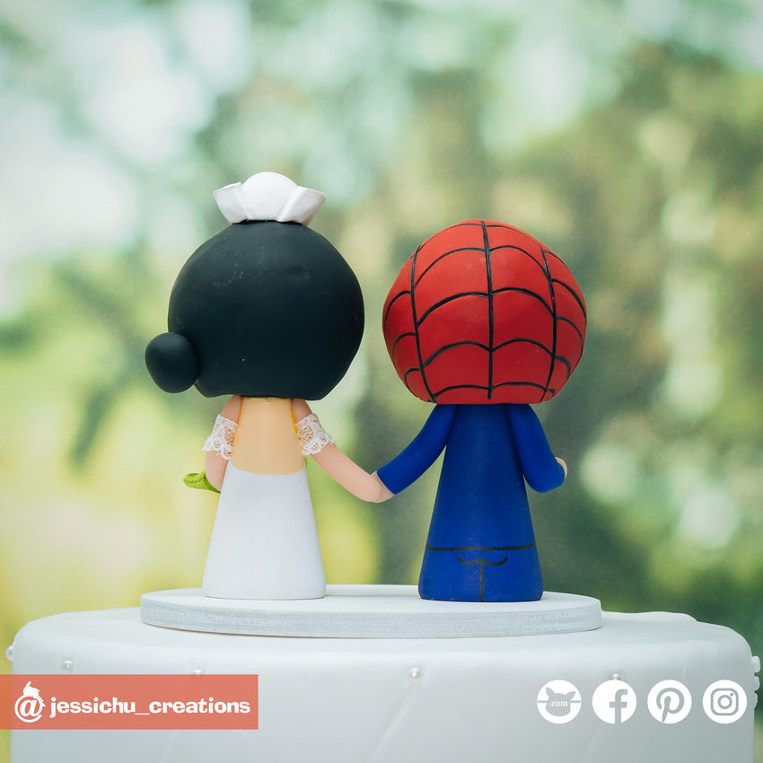 Spiderman Groom & Nurse Bride  - Marvel Inspired Wedding Cake Topper | Wedding Cake Toppers | Cake Topper Gallery | Jessichu Creations
