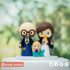 Harry Potter Hufflepuff Groom & Gryffindor Bride with Mermaid Child | Disney x HP | Custom Handmade Wedding Cake Topper Figurines | Jessichu Creations