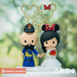 Golden State Warriors Fan & Minnie Mouse Bride | Disney | Custom Handmade Wedding Cake Topper Figurines | Jessichu Creations