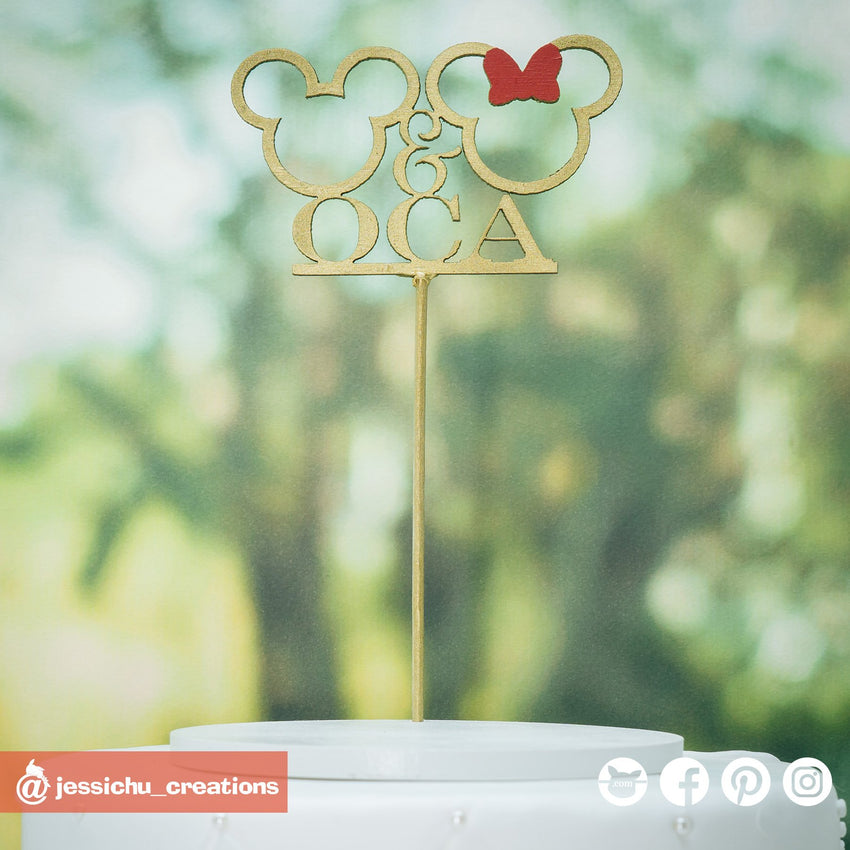 Mickey and Minnie Custom Cutout Sign | Signs | Custom Handmade Wedding Cake Topper Figurines | Jessichu Creations