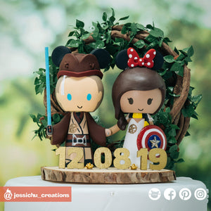 Geeky Mixed Fandom Couple | Disney x Marvel x Star Wars x HP | Custom Handmade Wedding Cake Topper Figurines | Jessichu Creations