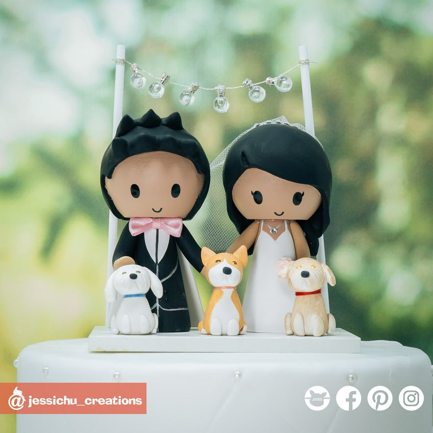 Naruto 4th Hokage Groom & Bride | Custom Handmade Wedding Cake Topper Figurines | Jessichu Creations