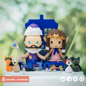 Geeky Anime Fandom with Pets | Dragon Ball Z x 7 Deadly Sins x Zelda | Custom Handmade Wedding Cake Topper Figurines | Jessichu Creations