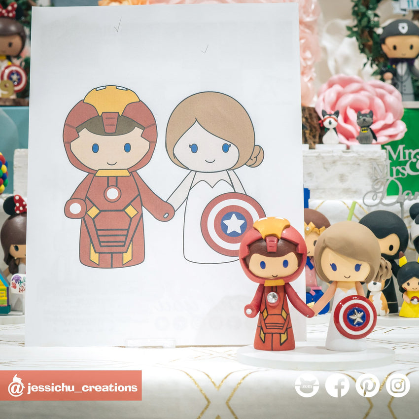 Marvel Ironman Groom & Captain America Bride | Custom Handmade Wedding Cake Topper Figurines | Jessichu Creations