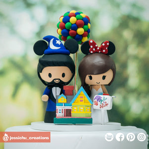Wizard Mickey & Minnie with UP House | Disney x Pixar | Custom Handmade Wedding Cake Topper Figurines | Jessichu Creations