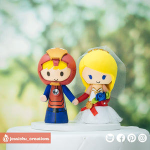 Ironman Groom & Captain Marvel Bride | Custom Handmade Wedding Cake Topper Figurines | Jessichu Creations