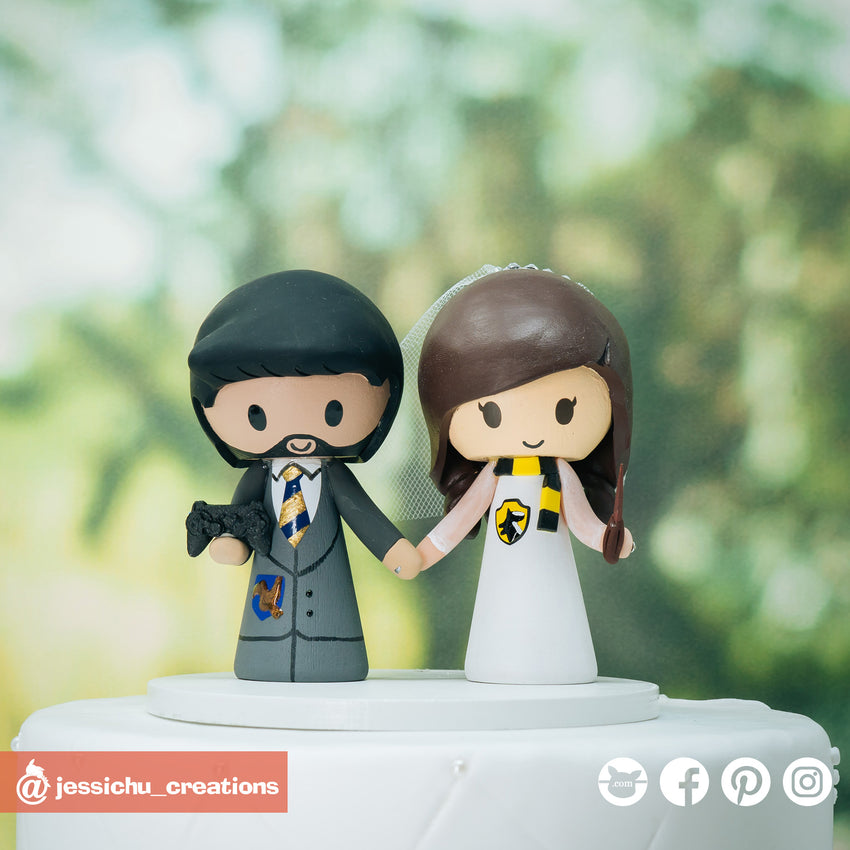 Harry Potter Ravenclaw Groom & Hufflepuff Bride | Custom Handmade Wedding Cake Topper Figurines | Jessichu Creations