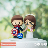 Marvel Captain America Groom & Bride | Custom Handmade Wedding Cake Topper Figurines | Jessichu Creations
