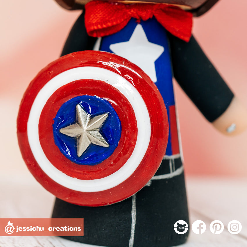 Marvel Captain America Groom & Bride Custom Handmade Wedding Cake Topper Figurines | Wedding Cake Toppers | Cake Topper Gallery | Jessichu Creations