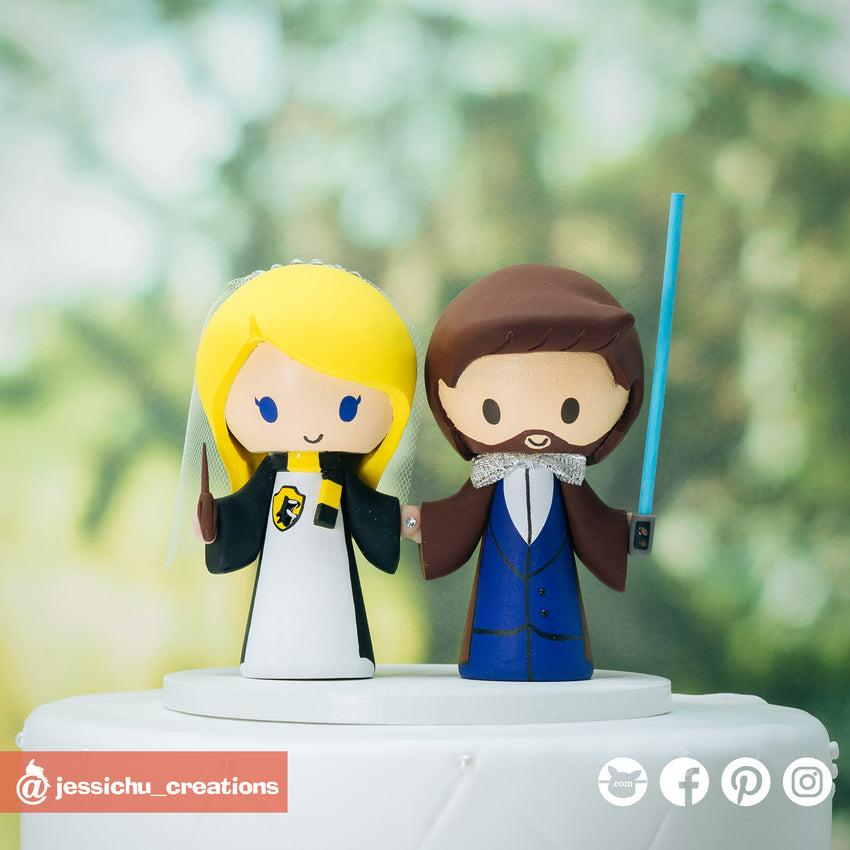 Harry Potter Hufflepuff Bride & Jedi Groom Inspired Star Wars x HP Wedding Cake Topper