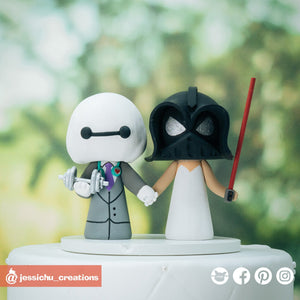 Baymax Groom & Darth Vader Bride | Disney x Star Wars | Custom Handmade Wedding Cake Topper Figurines | Jessichu Creations