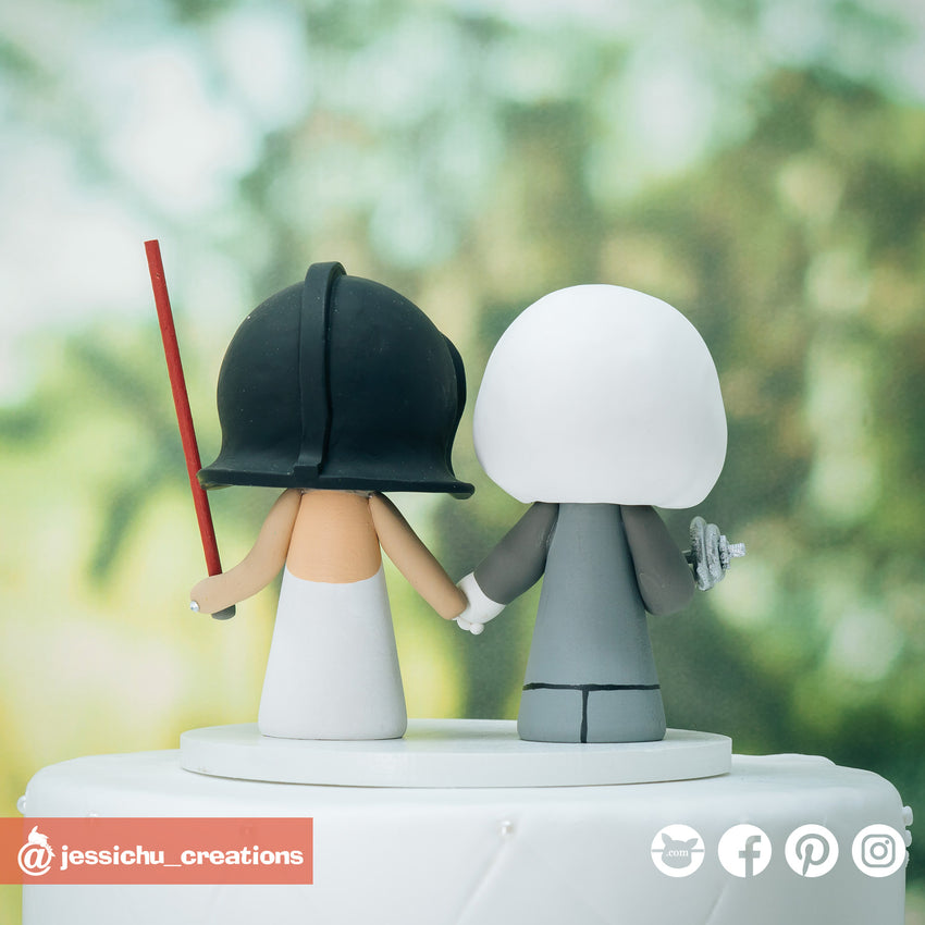Baymax Groom & Darth Vader Bride Inspired Disney x Star Wars Wedding Cake Topper | Wedding Cake Toppers | Cake Topper Gallery | Jessichu Creations
