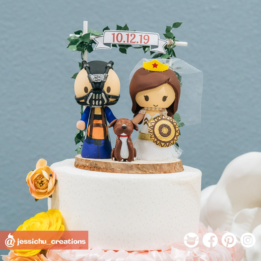 Bane Groom & Wonder Woman Bride | Batman x Gal Gadot x DC | Custom Handmade Wedding Cake Topper Figurines | Jessichu Creations