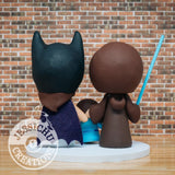 Jedi and Batgirl with Elsa Wedding Cake Topper | Star Wars x DC x Disney | Jessichu Creations