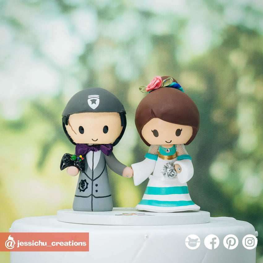 Gears of War Groom & Mexican Folklore Dancer Bride | Custom Handmade Wedding Cake Topper Figurines | Jessichu Creations