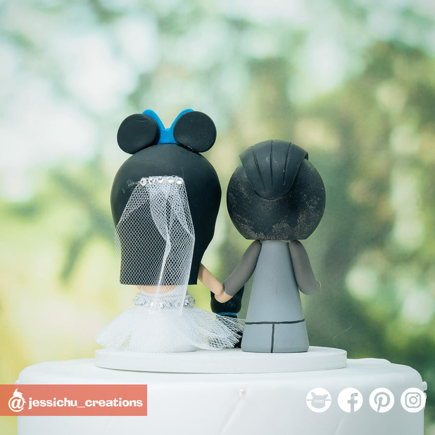 Nightwing Groom & Minnie Mouse Bride Inspired Disney x DC Wedding Cake Topper