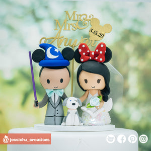 Mickey Groom & Minnie Mermaid Bride - Disney Inspired Wedding Cake Topper
