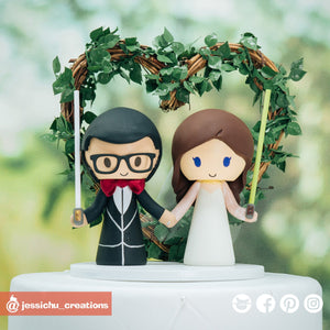 Simple Star Wars Jedi Bride & Groom | Custom Handmade Wedding Cake Topper Figurines | Jessichu Creations