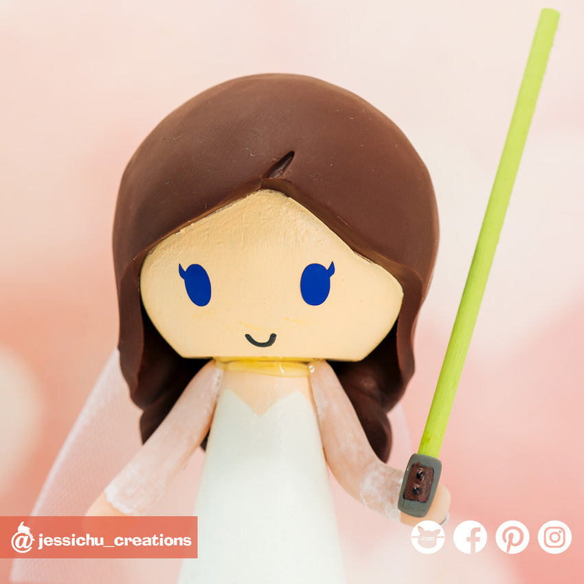 Simple Star Wars Jedi Bride & Groom | Wedding Cake Toppers | Cake Topper Gallery | Jessichu Creations