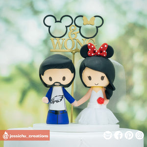 Philadelphia Eagles Fan & Minnie Mouse Bride | Custom Handmade Wedding Cake Topper Figurines | Jessichu Creations