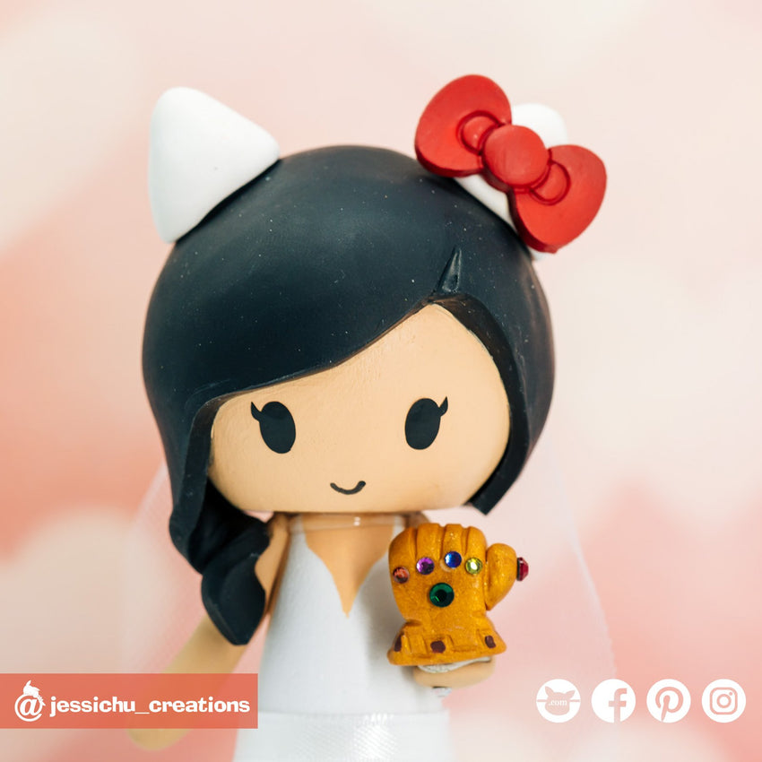 Hello Kitty Bride with Thanos Gauntlet | Custom Handmade Wedding Cake Topper Figurines | Jessichu Creations